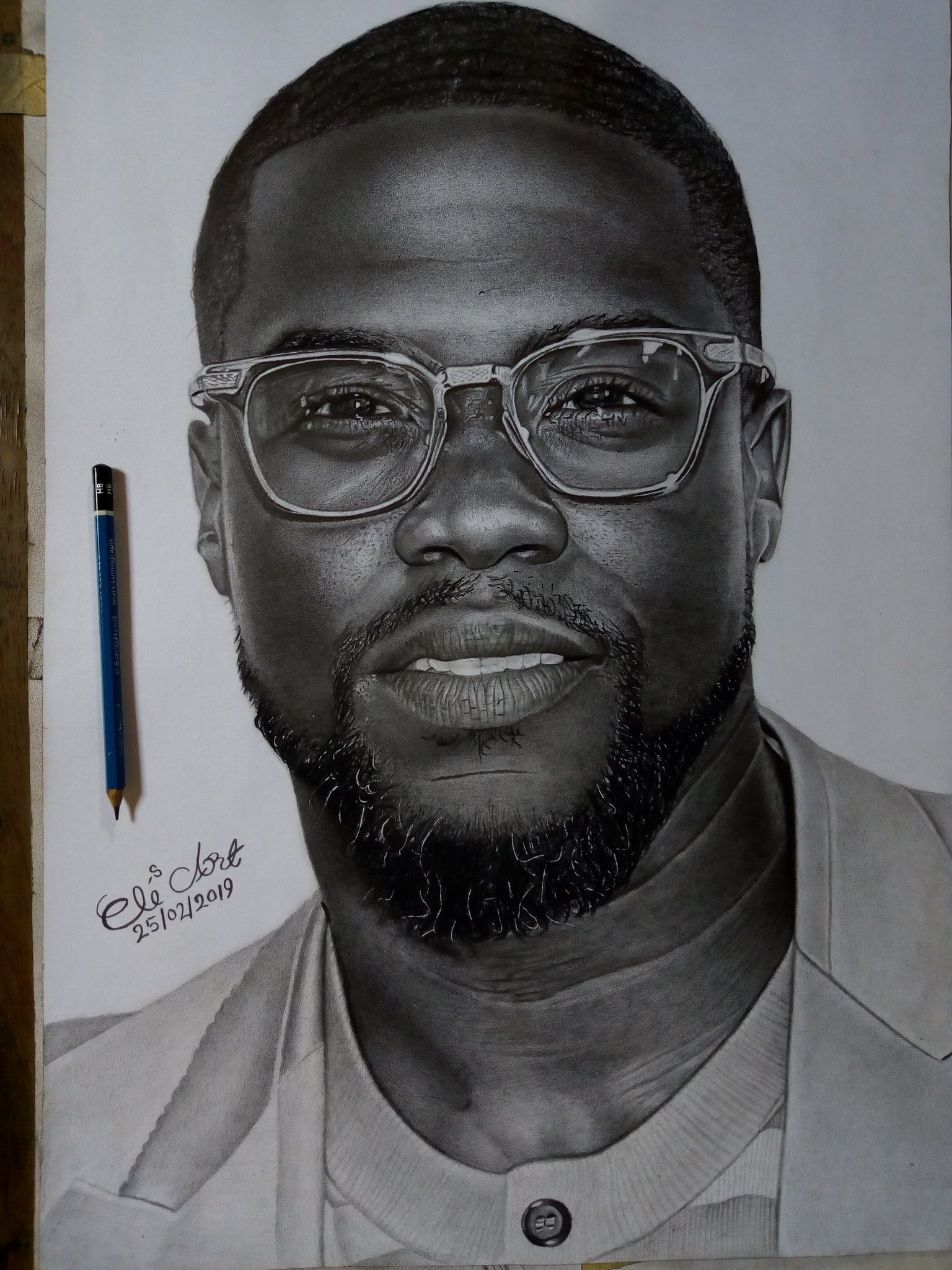 Kevin hart pencil art by eli waduba