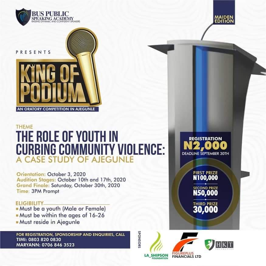 King of podium oratory competition Ajegunle bus speaking academy eventriga
